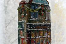 domki bożonarodzeniowe z butelek