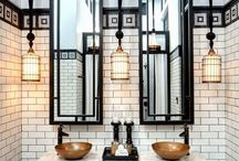 american classic powder room