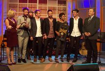 The Trews on Canada AM, Toronto / February 11, 2016. Congratulations to the band for receiving their first Road Gold certification from CIMA (Canadian Independent Musici Association) for sales of 25,000 concert tickets last year. Well deserved! Taken by us.