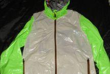 3) mens; shiny jacket, short, overall, pvc raincoat ....