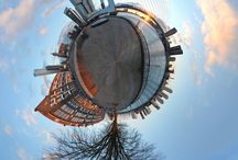 """My little planets / Spherical panoramas, sometimes referred to as """"little planets"""" are composed from 12-14 photographs, stitched together and transformed into a sphere  in Photoshop. Tubular, or hollow, panoramas are a variation on this theme.  Most of my little planets were made in my hometown Rotterdam, and some in various other places including Bristol, Gouda, Deventer and Bourtange"""