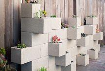 Jardim suspenso de tijolo de bloco de cimento