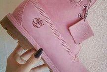 Pink timb booties