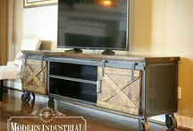 Barn Door Industrial Media Consoles