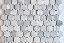 Hexagon Tile Mosaics / A collection of contemporary hexagon shaped tile mosaics in a range of colour and sizes.