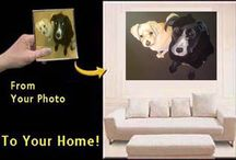 Custom Pet Portraits / Take a look inside homes where these custom pet portraits reside. Get an idea for yourself or for a special gift. Gift certificates available and the good news is that they are now 50% off original prices. Starting at just $60!!  See www.lilangelpetboutique.com for more information and to order!!