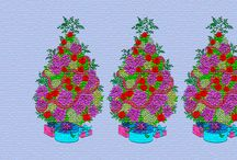Christmas Widescreen desktop wallpapers / Christmas desktop wallpapers - - Creative Haven Christmas Trees Coloring Pages w/colored pencil - - Photoshop / by Linda Leepa