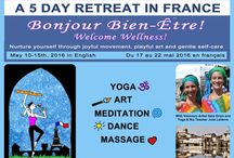 An Art & Yoga retreat in France / Nurture yourself through joyful movement, playful art & gentle self-care. Yoga, Dance, Art, Meditation & Massage retreat in France hosted by Julie Lelièvre, Certified Yoga & Nia Teacher and artist Gaia Orion May 10th-15th in English ~ du 17 au 22 mai en français Price starting at $1,025 (early bird discount Jan 1st 2016) Includes accommodations, traditional gourmet French meals, local wines, 60min massage by Grant W. Bradley-Low RMT, art supplies, yoga props