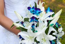 Caribbean turquoise blue wedding bouquets