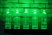 Luminous Bottles / Glass bottles |  Colored by RGB Linear wall washer