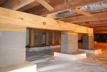 Crawlspace Structural Repairs / Floor joists, sill plates, and center beams all displayed.