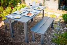 Outdoor Dining Tables / Made from 100% recycled plastic, Loll outdoor dining tables are perfect for the modern lollygagger. Available in 10 vibrant, environmentally friendly colors, they are easy to clean and require no maintenance.