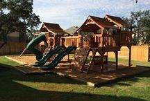 Outdoor Wooden Playsets Bridged / wooden swing sets, kids forts, backyard playsets, outdoor swing sets, playsets with bridges, kids swing sets, outdoor playsets, wooden swings, swings, big backyard, forts