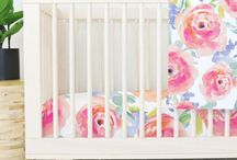 Watercolor Nursery / Watercolor florals and other designs are perfectly imperfect for your baby girl's room! We love this soft trend for both girls with fun florals and boys with looser geometric shapes and even cactus!