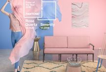 Rose Quartz and Serenity / Walker Zanger presents a color board inspired by the 2016 Pantone Color of the Year: Rose Quartz and Serenity.