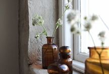 Glass bottles and vases