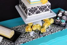 Teal, Yellow and Damask Bridal Shower