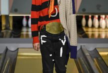 AW17, YFL, INT.8/9 / BACK TO COLLEGE - wide leg trousers: woven as well as knitted - carrot fit with pleat: woven as well as knitted - black sweatpants with off white graphic on leg panel - black, structural skinny trousers - stripe print: woven & knitted - decorative side stripe - lampas - collage style badges on leg panel MUSIC/PUNK: - damage effect: sratchers & lined holes - hand drawing on leg panel- - patchwork effect on leg panel - raw edges: on seams - abstract graphic: as print & badge