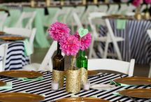 Black and White Stripe Wedding / A fun black and white striped wedding with mint and gold accents