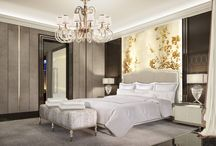 Glamour for a luxury style / Hotel room interior, luxury hotel interior, luxury interior design, modern hotel furniture