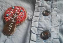 Textilní brože - květiny