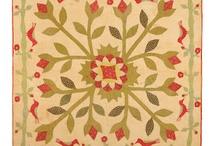 Vintage red green gold quilt