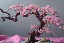 arbres et fleurs en perle rocaille