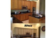 Kitchen Recolor's / Cabinet Painting; also known as Cabinet Recoloring, is a simple and affordable way to update your cabinets at a budget friendly price. We use your existing wood doors and cabinets and spray them in any color on a Benjamin Moore or Sherwin Williams color wheel. We do not spray your kitchen cabinets with paint, we use 100% urethane acrylic waterborne paint which does not yellow or crack and has no smell.