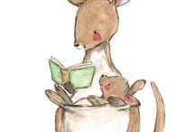 Children's art / Children, art, animals, kangaroo, illustration