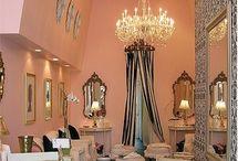 Powder Room / Shell pink? Lilac & black?