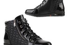 Dames Hoge Zwarte Zipper Sneaker met Veters en Rits