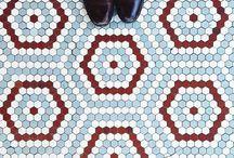 Hexagon Tile Floors / Inspiration for Hexagon Quilts