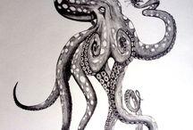 Ship & octopus tattoo