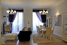 """Квартира в нео-классическом стиле / Комод с рисунком """"арлекин"""" стал отправной точкой в создании этого интерьера, в результате чего было решено сделать квартиру в легкой итальянской неоклассике с современными акцентами. Итальянские традиции воплотились в классических приемах и деталях: арке, пилястрах с каннелюрами, полуколонне, послужившей пьедесталом для современной скульптуры."""