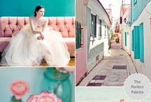 teal and pink wedding