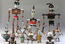 Roboter's, Metall Skulpturen