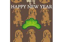 モダンな犬のイラスト年賀状
