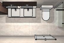 Lange smalle badkamer
