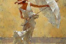 nő vizben ernyővel