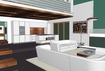 Projekty koncepcyjne / Koncepcja to pierwszy z etapów projektowania wnętrza. W prosty i logiczny sposób przestawia pomysł na rozwiązanie układu wnętrza, elementy dekoracyjne, kolorystykę, detale. Na podstawie koncepcji wybieramy materiały wykończeniowe, tworzymy wizualizacje, a później dokumentację techniczną.
