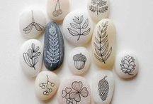 painted rocks diere en plante
