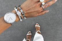 braceletes, watches, earings ans