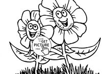 Flowers coloring pages / Many kind flowers coloring pages