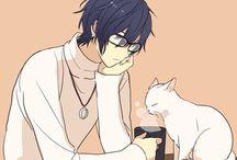 Anime, art boy wear glasses