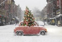 Cars with Christmas trees