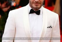 David Beckham Ivory White Suit / Get this stylish Met Gala David Beckham White Tuxedo Suit at most discounted price from Sky-Seller and avail free Shipping.