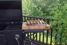 A Grill Master's Kitchen / Grilling gadgets and a butcher block prep station for the BBQ master!