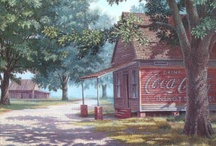Coca-Cola / Artist Jim Harrison's wonderful paintings of buildings with Coca-Cola advertising, circa 1930's-1950's.  Not all are his, but the country-side style generally are. / by Lalah Godwin