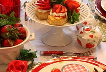 Strawberry tablescape