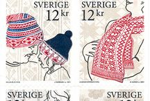 Knitting Stamps / Genuine postage stamps with knitted items